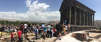 Armenian Native Faith - People gathered on the occasion of a public ceremony at the Temple of Garni.