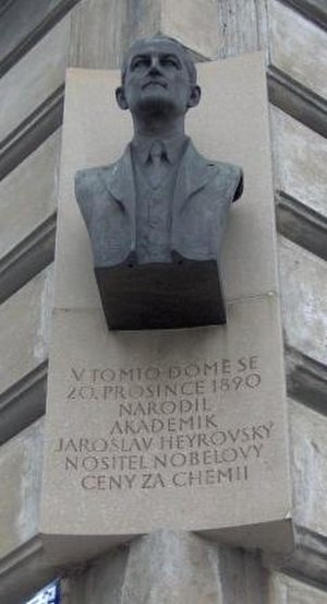Jaroslav Heyrovský - Memorial plaque in Kaprova street in Prague