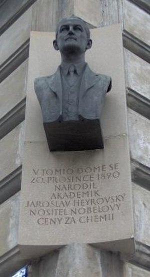 Jaroslav Heyrovský - Memorial plaque in Kaprova street in Prague