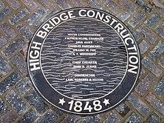 High Bridge re-opening - plaque High Bridge Construction