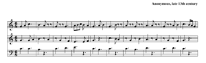 Hocket - Example of hocket (In seculum d'Amiens longum), French, late 13th century. Observe the quick alternation of sung notes and rests between the upper two voices. While this example is textless, the hocket was usually done on a vowel sound.