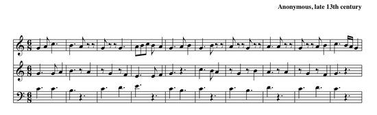 Example of hocket (In seculum d'Amiens longum), French, late 13th century.  Observe the quick alternation of sung notes and rests between the upper two voices.  While this example is textless, the hocket was usually done on a vowel sound.