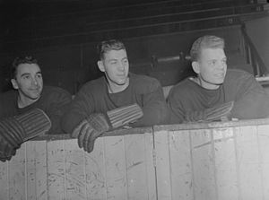 Ray Getliffe - Ken Mosdell, Ray Getliffe (centre) and Bob Fillion, playing for the Montreal Canadiens in 1945