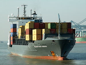 Holland Maas Habana - IMO 9326940 - Callsign TVHH 6 going into the Berendrecht lock Port of Antwerp 11-Oct-2005.jpg