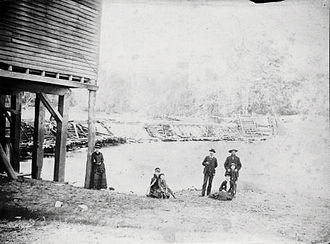 Homer, Illinois - The mill and dam on the Salt Fork at Homer Illinois. This photo of the Coffeen family was taken in the mid-1880s.