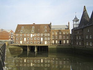 Stratford Langthorne Abbey - The House Mill (1776) and Miller's House at Three Mills. Shown at low tide.