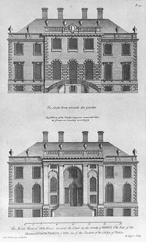 William Adam (architect) - Realised designs for the south front (top) and north front of House of Dun, Angus