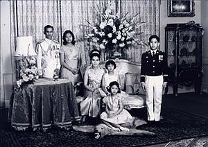 Chakri dynasty - Photograph of King Bhumibol, Queen Sirikit and their four children, taken in 1966.
