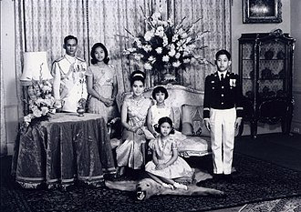 Vajiralongkorn - The Royal Family, 1966. Vajiralongkorn stands at far right.