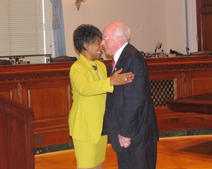 United States House Committee on House Administration - At a hearing during the 109th Congress, then-Chairman Vernon J. Ehlers greets then-Ranking Member Juanita Millender-McDonald.