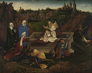 The Three Marys at the Tomb - The Three Marys at the Tomb, attributed to Hubert van Eyck, 71.5cm x 90cm. c. 1410-20. Museum Boijmans Van Beuningen
