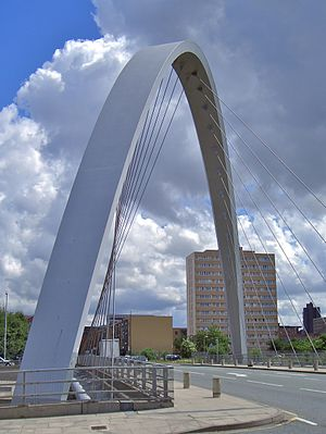 Hulme Arch Bridge - The bridge from the side of Stretford Road