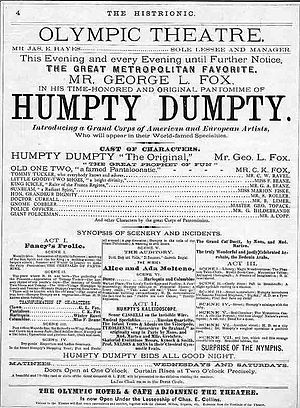 Humpty Dumpty - A poster advertising a pantomime version at the Olympic Theatre in New York 1868, starring George L. Fox