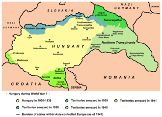 Hungary between the World Wars - Map of territories reassigned to Hungary in 1938–1941