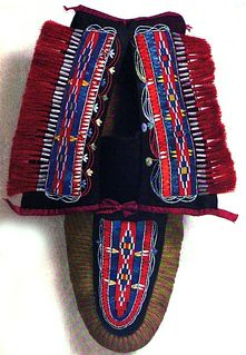 Quillwork Works decorated with overlays of porcupine quills or feathers