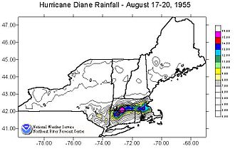 Hurricane Diane - Rainfall totals in New England from Diane