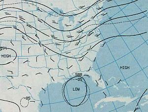 Hurricane Elena - Geopotential height chart for the 500-millibar level, showing Elena (the closed isohypse over the Gulf of Mexico) on August 30. The trough that turned Elena toward the east can be seen embedded within the flow over the United States, and the ridge responsible for eventually pushing the storm back is denoted to the east of Florida.