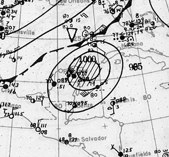 1922 Atlantic hurricane season - Image: Hurricane Four surface analysis October 18 1922