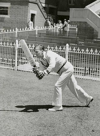MCC tour of Australia in 1946–47 - Len Hutton practicing his cover drive at the Adelaide Oval, he topped the first class batting averages for the MCC and the Test batting averages for England.