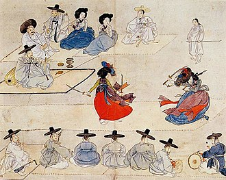 "Korean dance - ""Dancing together holding with two swords"" from Hyewon pungsokdo depicting geommu (sword dance) performing during Joseon dynasty"