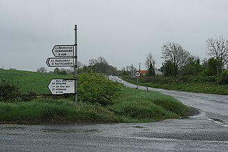 R438 road (Ireland) - R438 at R489 junction; sign suggests  it is both R438 and R439