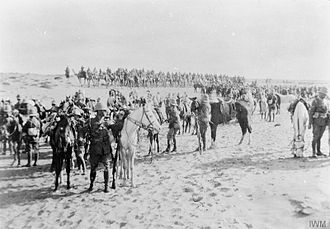 Raid on the Suez Canal - 1st Hertfordshire Yeomanry and Bikanir Camel Corps on reconnaissance in Egypt on 14 February 1915