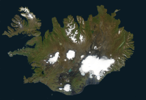 Satellitenbild, Langjökull i.d.Mi. links