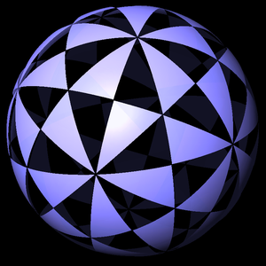 Polyhedron - Full icosahedral symmetry divides the sphere into 120 triangular domains.