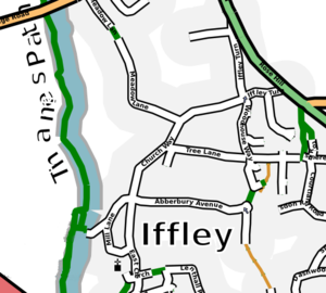 Iffley - Map of Iffley village.
