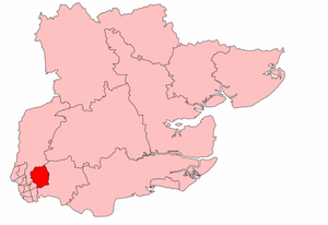 Ilford by-election, 1920 - Ilford in Essex, showing boundaries used from 1918 to 1945.