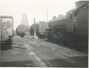 Immingham engine shed - Shed building behind the camera, two 9F 2-10-0s and a named B1 4-6-0 in shot