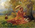 Imre Gergely Mutter und Kind rasten unter einem Baum.jpg