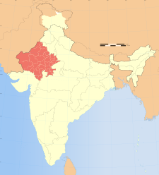 Map of India with the location of ರಾಜಸ್ಥಾನ highlighted.