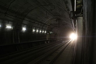 Seikan Tunnel - Train approaching Tappi-Kaitei Station, in July 2008