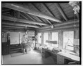 Interior detail, view east - Northeast Entrance Station, Northeast Entrance, Silver Gate, Park County, MT HABS MONT,34-SILGA.V,1-4.tif