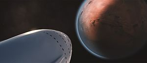 SpaceX Mars transportation infrastructure - Artist rendering of a SpaceX Interplanetary Spaceship approaching Mars
