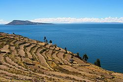 Inca-era terraces on Taquile are used to grow traditional Andean staples, such as quinua and potatoes, alongside wheat, a European import.
