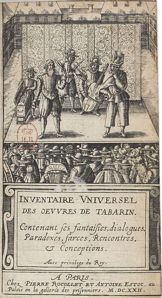 Tabarin - Title page of Inventaire universel des oeuvres de Tabarin, 1622