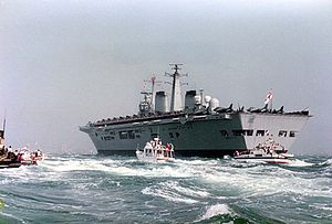 HMS Invincible (R05) - Invincible returns to the Solent after the Falklands War