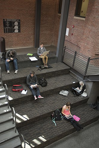 Wentworth Institute of Technology - Students studying inside the Ira Allen building on campus