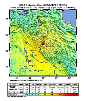 2017 Iran–Iraq earthquake - Image: Iran Iraq border earthquake Shake Map (cropped)