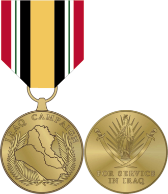 Iraq Campaign Medal - The Iraq Campaign Medal, front (left), and back (right).