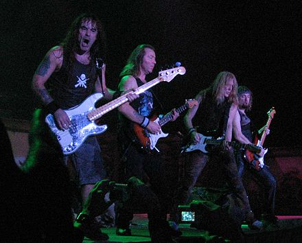 Iron Maiden, one of the central bands in the new wave of British heavy metal. Iron Maiden - bass and guitars 30nov2006.jpg