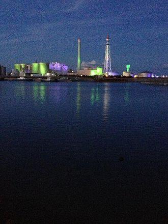 Ishikawa, Okinawa - Ishikawa Powerplant seen from Ishikawa Beach.