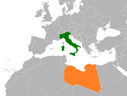 Map indicating locations of Italy and Libya