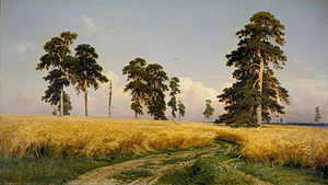 Central Black Earth Region - Ivan Shishkin's painting Rye Fields (1878) depicts forest steppe adapted for arable agriculture