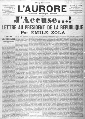 Front page cover of the newspaper L'Aurore of Thursday 13 January 1898, with J'accuse...!, the open letter written by Émile Zola to president Félix Faure about the Dreyfus affair.