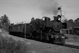 Victorian Railways J class - J541 arrives near Castlemaine in 2009