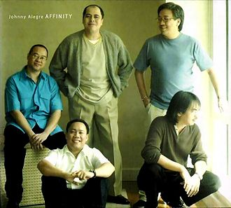 Johnny Alegre Affinity - Founding members, from left to right: (seated) Tots Tolentino, (standing) Johnny Alegre and Colby de la Calzada, (foreground) Elhmir Saison and Koko Bermejo