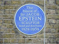 Photo of Jacob Epstein blue plaque